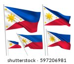 philippines vector flags set. 5 ... | Shutterstock .eps vector #597206981