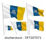 canary islands vector flags set.... | Shutterstock .eps vector #597207071