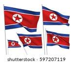 north korea vector flags set. 5 ... | Shutterstock .eps vector #597207119