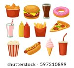 Set Fast Food Icon. Cup Cola ...