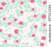 simple cute pattern in small... | Shutterstock .eps vector #597211544