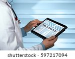 pathologist consulting medical...   Shutterstock . vector #597217094