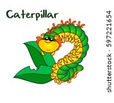 kawaii cute green caterpillar... | Shutterstock .eps vector #597221654