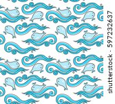 seamless abstract pattern with... | Shutterstock . vector #597232637