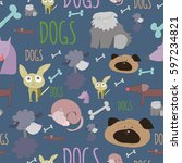 cute doodle dogs blue seamless...   Shutterstock .eps vector #597234821