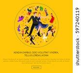happy salsa dancers couple... | Shutterstock . vector #597240119