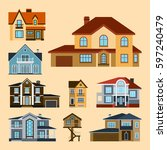 Houses Front Face View Vector...
