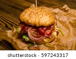 bacon burger with beef patty on ... | Shutterstock . vector #597243317