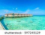 beautiful water villas in... | Shutterstock . vector #597245129