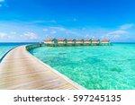beautiful water villas in... | Shutterstock . vector #597245135
