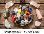 multiple semi precious... | Shutterstock . vector #597251201
