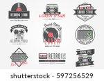 colorful vintage labels.... | Shutterstock .eps vector #597256529