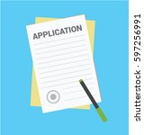 application form. documents... | Shutterstock .eps vector #597256991