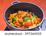 chicken casserole | Shutterstock . vector #597264335
