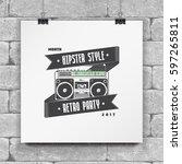 logo music store  hipster style....   Shutterstock .eps vector #597265811
