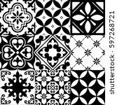 spanish tiles  moroccan tiles...   Shutterstock .eps vector #597268721