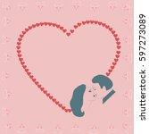 kissing couple on the... | Shutterstock .eps vector #597273089