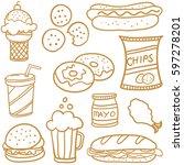 doodle of food set various   Shutterstock .eps vector #597278201