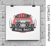 color sticker retro party....   Shutterstock .eps vector #597278471