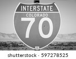 interstate 70 highway  united... | Shutterstock . vector #597278525