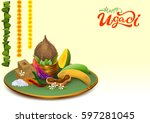 happy ugadi. template greeting... | Shutterstock . vector #597281045