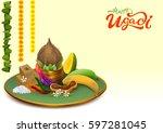 happy ugadi. template greeting... | Shutterstock . vector #597281045