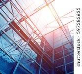glass office buildings in wide... | Shutterstock . vector #597282635