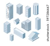 build your own isometric city....   Shutterstock .eps vector #597286667