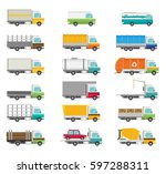 delivery vector transport truck ... | Shutterstock .eps vector #597288311