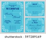 set of wedding cards in retro... | Shutterstock .eps vector #597289169