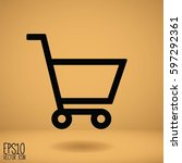 shopping cart icon. flat style... | Shutterstock .eps vector #597292361