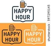 happy hour. badge with beer... | Shutterstock .eps vector #597295145