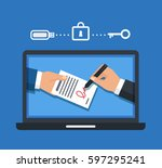 digital signature concept.... | Shutterstock .eps vector #597295241