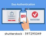 two steps authentication... | Shutterstock .eps vector #597295349