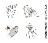 steps how to apply moisturizing ... | Shutterstock .eps vector #597298565