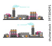 set of industrial buildings.... | Shutterstock .eps vector #597304091