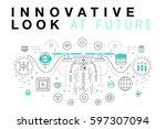 trendy innovation systems... | Shutterstock .eps vector #597307094