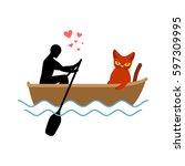 cat lover boat. my kitty.... | Shutterstock .eps vector #597309995
