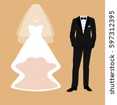 wedding card with the clothes... | Shutterstock .eps vector #597312395