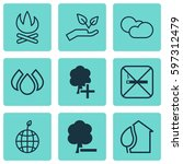 set of 9 ecology icons.... | Shutterstock .eps vector #597312479