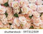 beautiful rose flowers... | Shutterstock . vector #597312509