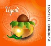 happy ugadi and gudi padwa... | Shutterstock .eps vector #597314081