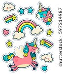 stickers set with unicorns ... | Shutterstock .eps vector #597314987