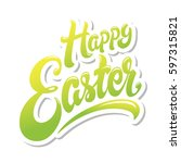 happy easter hand drawn... | Shutterstock .eps vector #597315821