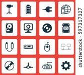 set of 16 computer hardware... | Shutterstock .eps vector #597317327