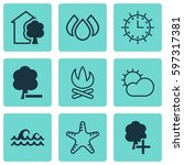 set of 9 eco icons. includes...   Shutterstock .eps vector #597317381