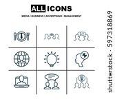 set of 9 business management...   Shutterstock .eps vector #597318869