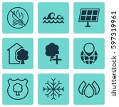 set of 9 eco friendly icons.... | Shutterstock .eps vector #597319961