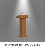 white podium tribune rostrum... | Shutterstock .eps vector #597321761