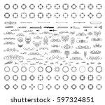 huge rosette wicker of border... | Shutterstock .eps vector #597324851
